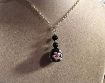 Black Necklace - Silver Jewelry - Flower Jewellery - Chain - Fashion - Pendant