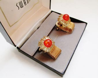 SWANK Cuff Links, Mesh Cuff Links, Orange Stone Earrings, 1970's Earrings