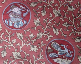 Jay Yang Decorator Fabric by the Yard, Asian 1 Yard Cotton Chintz in Coral