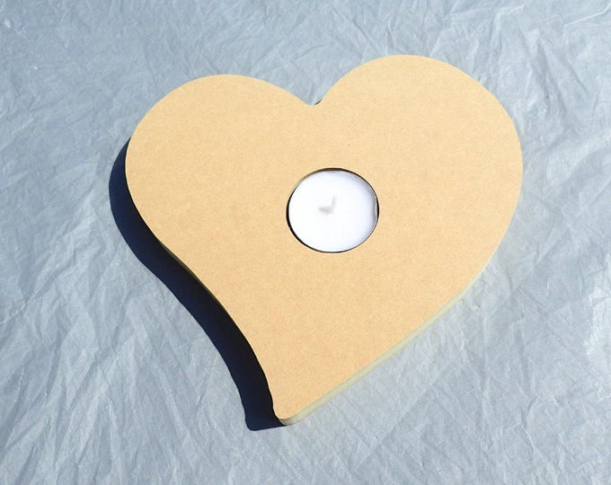 Heart Tealight Candle Holder -  Use as a Base for Mosaics Decoupage or Decorative Painting - Unfinished MDF 7 inch