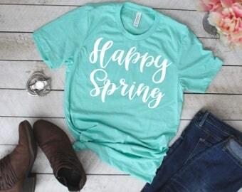Happy Spring unisex mint crew neck short sleeve tee