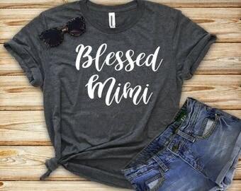 Blessed Mimi (or any name) dark heather grey short sleeve crew neck unisex tee