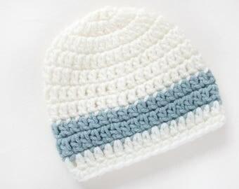 Newborn Boy Hat / Baby Beanie / Baby Shower Gift Boy / Crochet Hat Boy / Infant Hat For Boys / Baby Boy Hat / Gifts For Baby Boy / Cream Hat