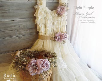 Light Purple ~ Flower Girl Accessories ~ Pin on Corsage ~ Sash ~ Basket. Ready to ship and will arrive to you in 3 days priority mail!