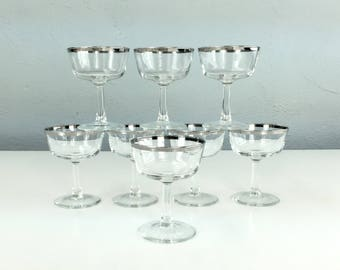 Delicate Vintage Cocktail Glasses Made in France with Silver Band, Set if 8, Mad Men Style, 1960s Barware, Wine Glasses, Champagne Glass
