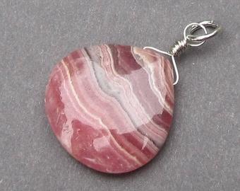 Rhodochrosite Heart Pendant, Sterling Silver Wire Wrapped Pendant, Rhodochrosite Dangle Charm with Sterling Silver Jump Ring Stone 60