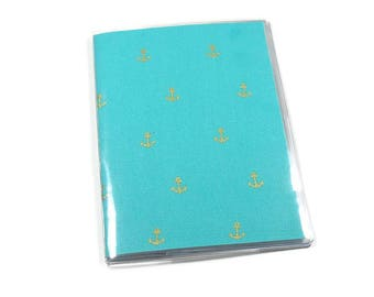 Passport Cover Gold Metallic Anchor