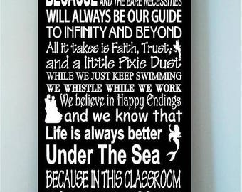 ON SALE Beautiful DISNEY famous movie quotes wooden Classroom subway art 12x24 sign with characters -In this Classroom we let it go...