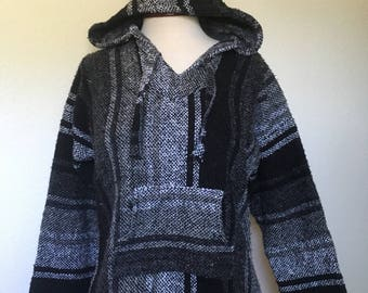 "90s vintage Baja Hoodie black white, Drug Rug black, Mexican woven hooded poncho, 1990s grunge vtg, hippie bohemian boho, size S small 40"""