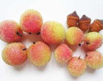 Artificial Beaded Fruit, 13 Retro Apricots & Acorns