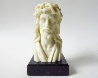 "Jesus Crown of Thorns Alabaster Bust on Black Marble Base, Vintage 5"" Figurine"