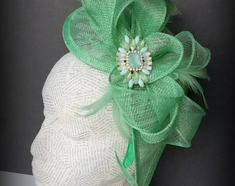 "Mint Green  Fascinator Hat: Our ""Paisley"" Design,  Holiday Fashion Hat for Christmas, Church, Derby, New Years"