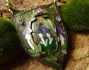 Elfland Pendant with Labradorite and Enchanted Toadstools OOAK Handmade