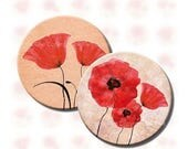 30% SALE 12 and 16 mm images Poppy Flowers for jewelry. Handmade supplies. Floral printables for earrings. Printable red blue purple digital