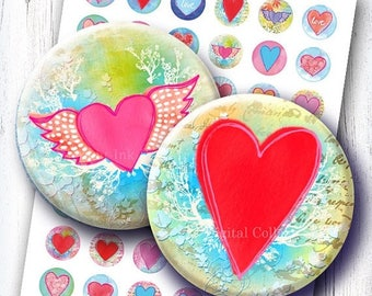 Valentines Hearts bottlecaps 1 & 1.313 inch circles digital collage sheet. Heart inchies for sticker, badges, pendants. Hand drawn images.