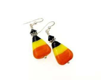 Candy Corn Earrings, Halloween Lampwork Earrings, Orange Yellow Artisan Earrings, Glass Bead Earrings, Drop Earrings, Lampwork Jewelry