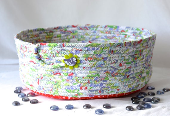 Cat Bed Furniture, Handmade Coiled Pet Bed, Lavender Fabric Basket, Modern Large Cat Bed, Dog Bed, Cute Fabric Bowl
