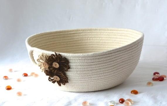 Rustic Rope Bowl, Handmade Minimalist Line Basket, Modern Clothesline Basket, Lovely Candy Bowl,  hand coiled natural rope basket