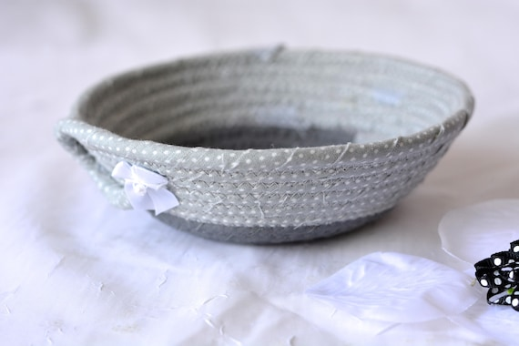 Gray Ring Holder Tray, Handmade Grey Fabric Bowl, Key Tray, Small Fabric Candy Dish, Cute Desk Accessory Basket, Soft Fiber Pottery
