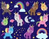 CIJ SALE Unicorn Clipart, Unicorn Clip Art  - Commercial and Personal Use