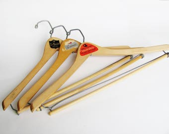 Vintage Clothes Hangers Batts Wishbone Men's Store Advertisment Excellent Quality Wood And Meta Construction For Tops And Pantsl