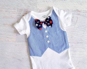 READY TO SHIP in Size 9 Months 4th of July Navy and White Seersucker Tuxedo Bodysuit Vest with Matching Removable Star Bow Tie