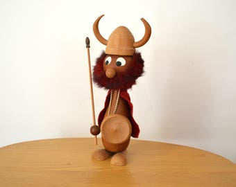Scandinavian Modern Large Wooden Viking Figurine