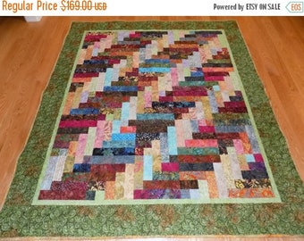 Sale Christmas in July Batik Scrappy  handmade lap quilt large 75 x 64
