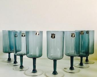 Rare Golden Crown E & R Pedestal Crystal Glasses