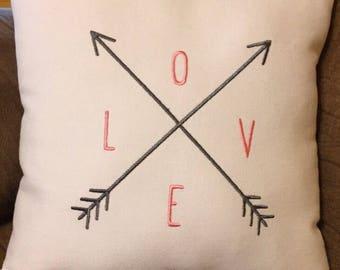 "Beautiful ""Love"" with arrows custom made pillow"