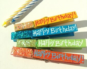 Happy Birthday clothespins yellow blue green orange hand painted glitter magnets gift card holder package clip