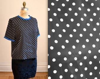SALE Vintage Polka Dot Shirt Black and White Medium// Polka Dot Woven Tee Shirt Blouse Black and White 80s