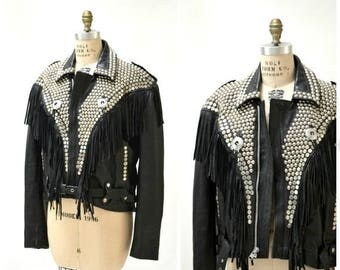 SALE Vintage Black Leather Biker Jacket with Silver Studs Size Large// Studded Black Leather Motorcycle Jacket Silver black With Fringe LA R