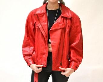 SALE Vintage Leather Motorcycle Jacket RED by Michael Hoban// Vintage Leather Biker Jacket Red Small Medium