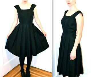 SALE Vintage 50s Black Dress Size Medium by Bonwit Teller // 1950s Vintage Black Party Dress Size Medium