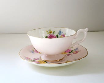 Pink Tea Cup and Saucer, Vintage Pink Roses Teacup and Saucer, Pastel Teacup Set, EB Foley Pale Pink Cup and Saucer, Gifts for Her