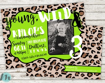 Young Wild and Three Invitation, Third Birthday Invitation, Girl Birthday, Lime Green, Leopard Print, 5 x 7, Digital Printable, Download,