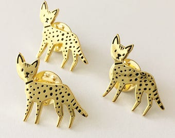 Savannah Cat Black and Gold Enamel Pin