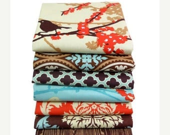 SALE 10% Off - HALF YARD Bundle - Aviary 2 by Joel Dewberry - Free Spirit Fabric - Saffron Palette - 7 pcs