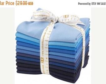 SALE 10% Off - KONA Dusk to Dawn palette - Cotton Solids in Blue to Navy - 12-piece Fat Quarter Bundle - Robert Kaufman