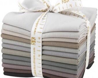 KONA GRAY AREA Fat Quarter Bundle, Kona Cotton Solid Fabric, 12 Fat Quarters, Cotton Quilt Fabric, Grey Fabric, Gray Fabric Bundle
