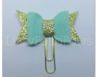 Planner clip, bookmark, planner bow clip, bow bookmark, aqua and gold bow