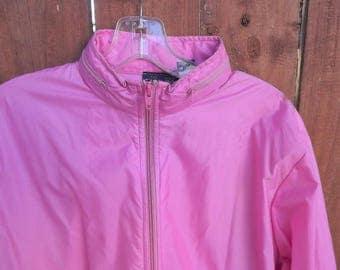 Womens Pink Windbreaker, Izod Track Jacket, The Izod Club 1980's vintage rain slicker, Zip Up Hooded Pink Jacket, Size 10 Large