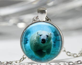 ON SALE Polar Bear Necklace Bear Jewelry Arctic Ocean Animals Nature Art Pendant in Bronze or Silver with Link Chain Included