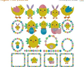ON SALE EASTER Chickens - Machine Filled Embroidery - Instant Digital Download