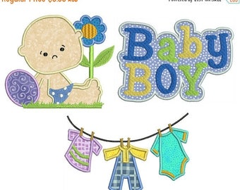 ON SALE BABY Boy - Machine Applique Embroidery - 3 Patterns in 3 Sizes - Instant Digital Download