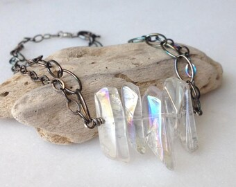 Clear Quartz Aurora Borealis Sterling Silver Bracelet AB Effect Rainbow Iridescent Quartz Spike Gemstone Black Oxidized Silver Chain