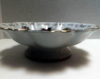 fancy Vintage Porcelain Ceramic Serving Bowl, footed bowl, fruit bowl, flower motif