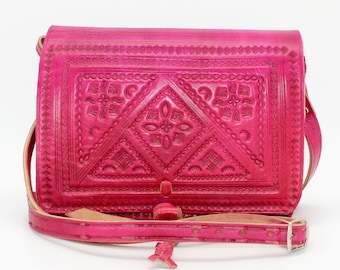 Pink Tooled leather bag,Leather crossbody bag, Fuschia leather bag, crossbody bag , boho bag, gypsy bag ,gift for wife, sac bandouliere