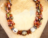 Beige Chunky African Beaded Necklace,Brown African Necklace